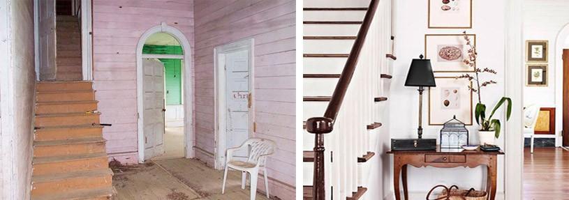 Antes y después del vestíbulo