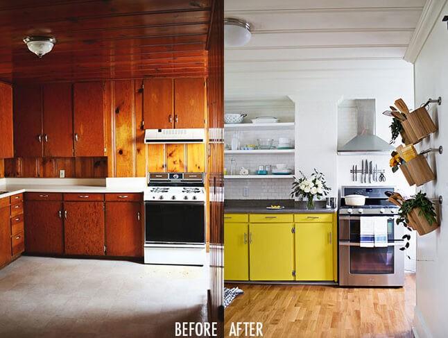 Antes y después cocina en amarillo