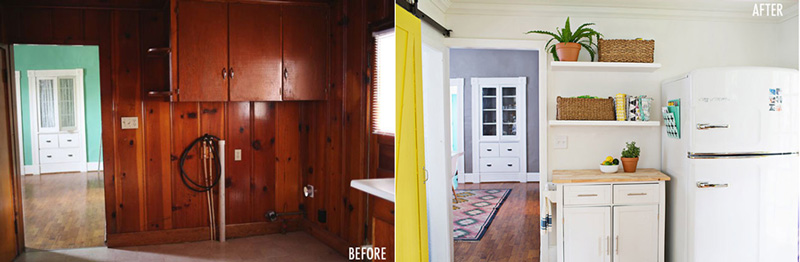 Antes y después entrada a cocina en amarillo