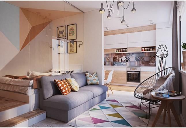 Salón y dormitorio Apartamento Madrid